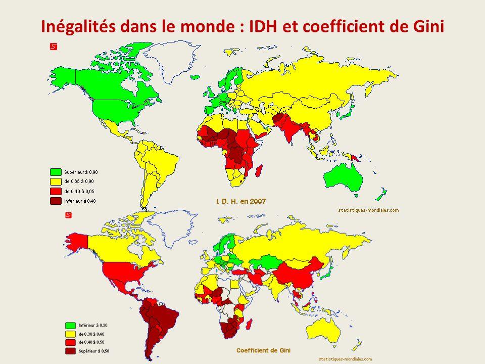 Inégalités dans le monde : IDH et coefficient de Gini