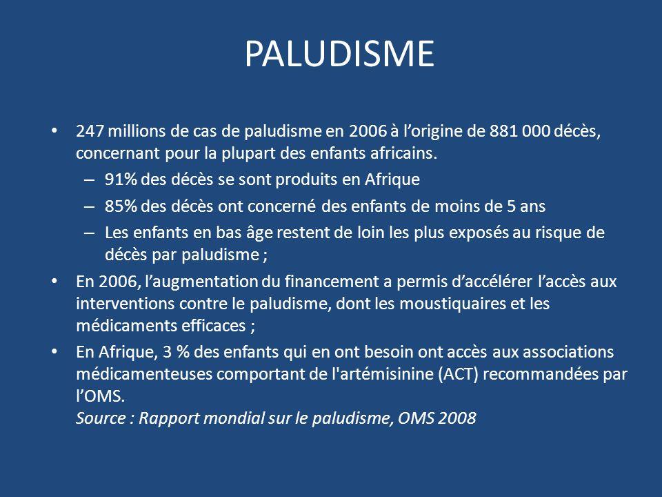 PALUDISME 247 millions de cas de paludisme en 2006 à lorigine de 881 000 décès, concernant pour la plupart des enfants africains.