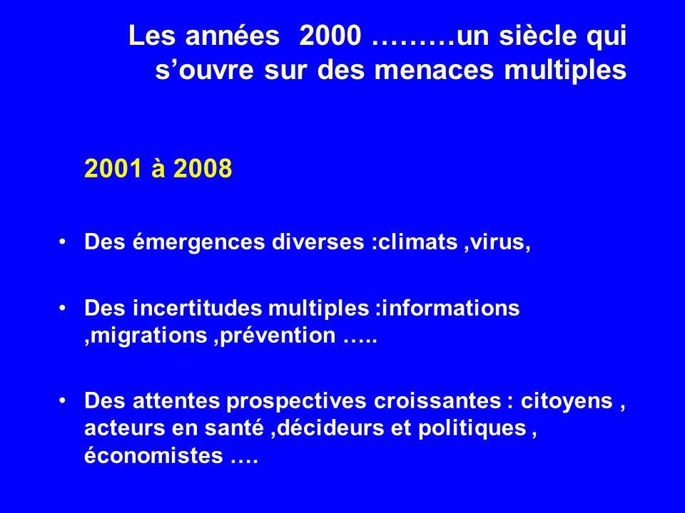 Les années 2000 ………un siècle qui souvre sur des menaces multiples 2001 à 2008 Des émergences diverses :climats,virus, Des incertitudes multiples :informations,migrations,prévention …..