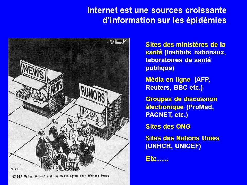 Internet est une sources croissante dinformation sur les épidémies Sites des ministères de la santé (Instituts nationaux, laboratoires de santé publique) Média en ligne (AFP, Reuters, BBC etc.) Groupes de discussion électronique (ProMed, PACNET, etc.) Sites des ONG Sites des Nations Unies (UNHCR, UNICEF) Etc…..