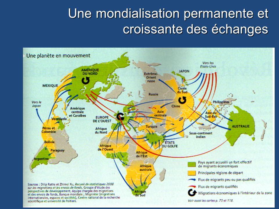 Une mondialisation permanente et croissante des échanges