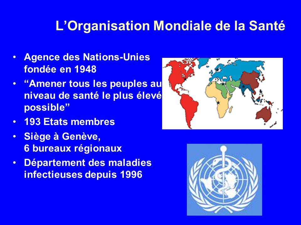 LOrganisation Mondiale de la Santé Agence des Nations-Unies fondée en 1948 Amener tous les peuples au niveau de santé le plus élevé possible 193 Etats membres Siège à Genève, 6 bureaux régionaux Département des maladies infectieuses depuis 1996