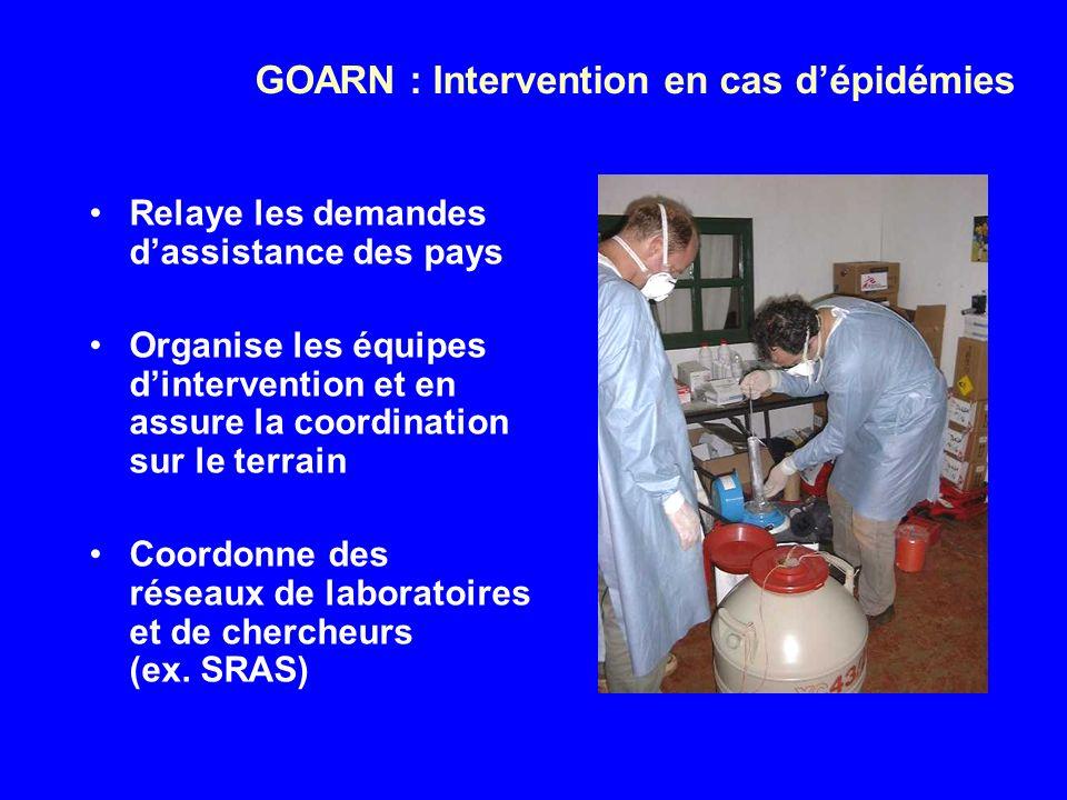 GOARN : Intervention en cas dépidémies Relaye les demandes dassistance des pays Organise les équipes dintervention et en assure la coordination sur le terrain Coordonne des réseaux de laboratoires et de chercheurs (ex.