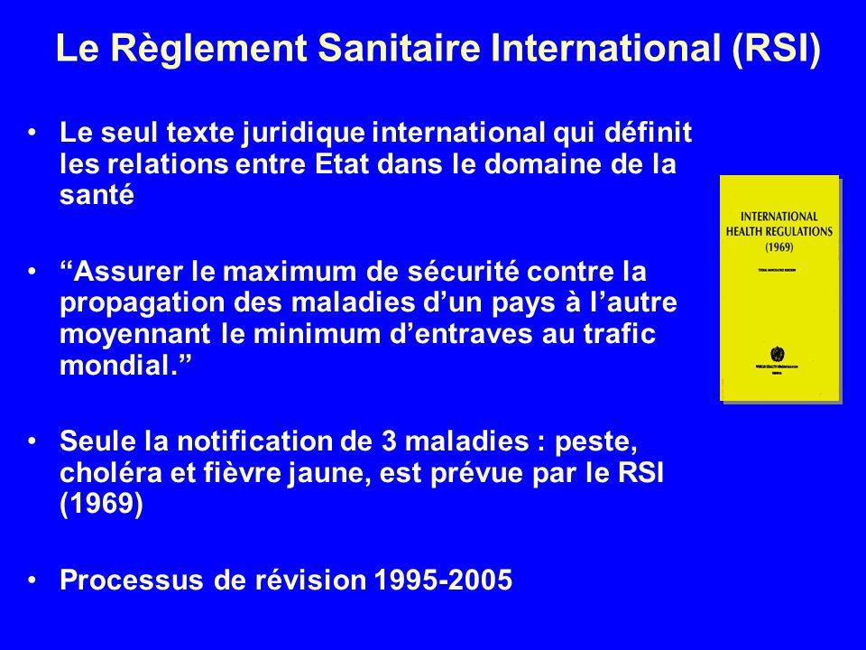 Le Règlement Sanitaire International (RSI) Le seul texte juridique international qui définit les relations entre Etat dans le domaine de la santé Assurer le maximum de sécurité contre la propagation des maladies dun pays à lautre moyennant le minimum dentraves au trafic mondial.