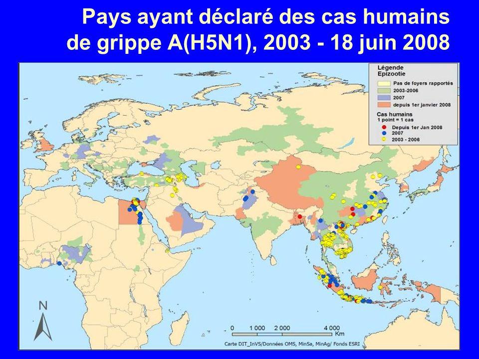 Pays ayant déclaré des cas humains de grippe A(H5N1), 2003 - 18 juin 2008