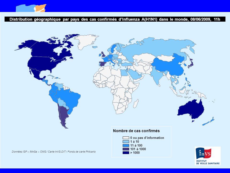Données ISP – MinSa – OMS / Carte InVS-DIT / Fonds de carte Philcarto Distribution géographique par pays des cas confirmés dInfluenza A(H1N1) dans le monde, 08/06/2009, 11h Nombre de cas confirmés 0 ou pas dinformation 1 à 10 11 à 100 101 à 1000 > 1000