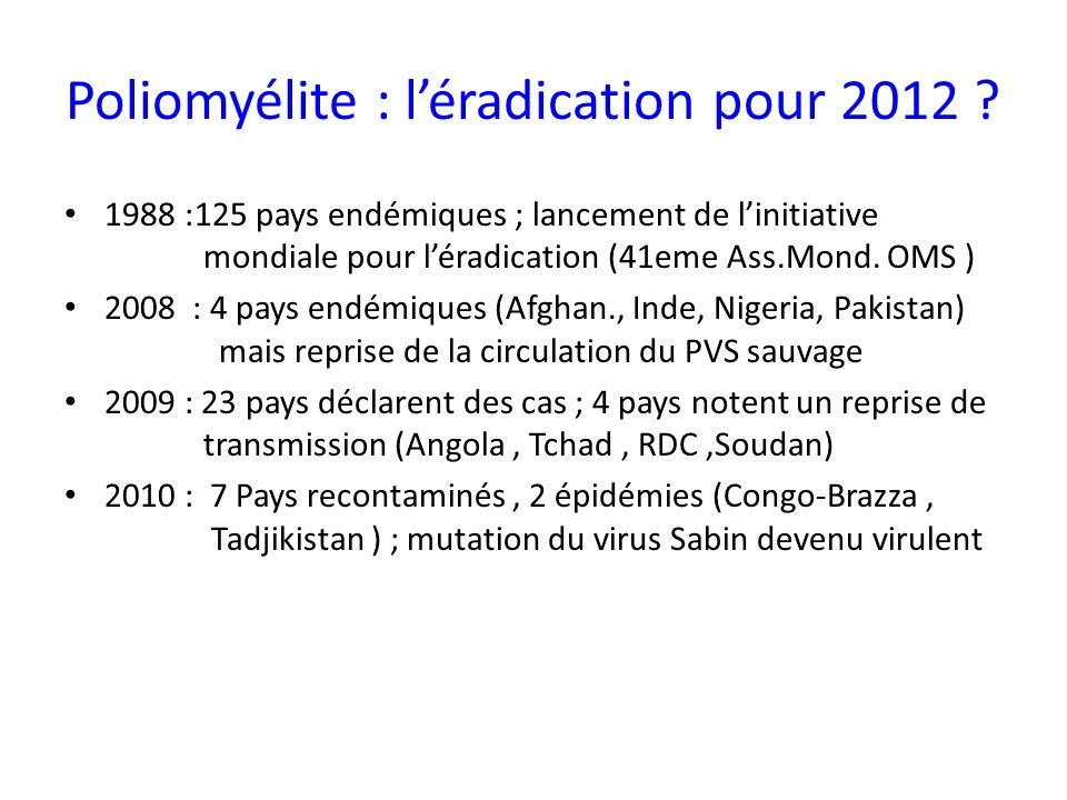 Poliomyélite : léradication pour 2012 ? 1988 :125 pays endémiques ; lancement de linitiative mondiale pour léradication (41eme Ass.Mond. OMS ) 2008 :