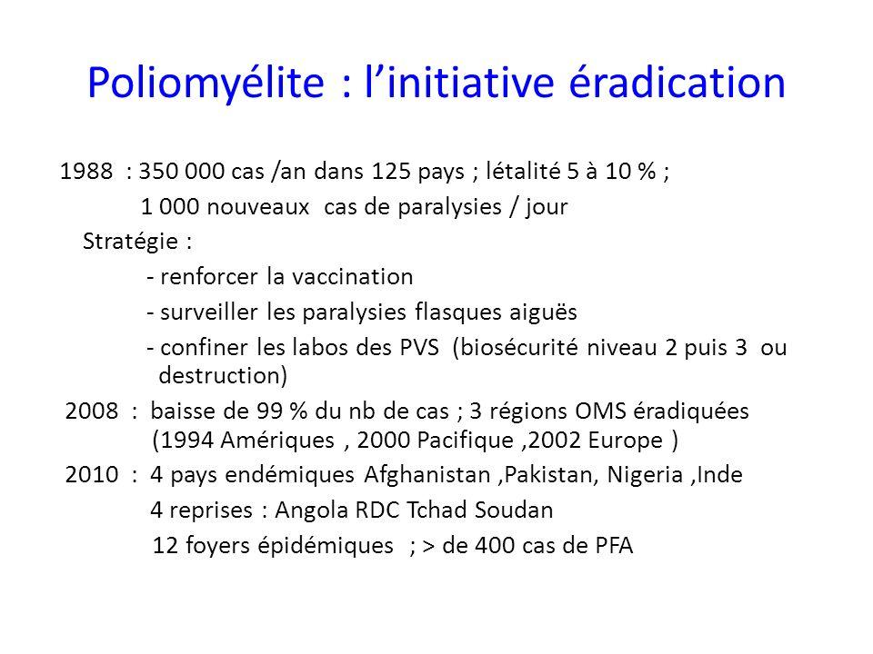 Poliomyélite : linitiative éradication 1988 : 350 000 cas /an dans 125 pays ; létalité 5 à 10 % ; 1 000 nouveaux cas de paralysies / jour Stratégie : - renforcer la vaccination - surveiller les paralysies flasques aiguës - confiner les labos des PVS (biosécurité niveau 2 puis 3 ou destruction) 2008 : baisse de 99 % du nb de cas ; 3 régions OMS éradiquées (1994 Amériques, 2000 Pacifique,2002 Europe ) 2010 : 4 pays endémiques Afghanistan,Pakistan, Nigeria,Inde 4 reprises : Angola RDC Tchad Soudan 12 foyers épidémiques ; > de 400 cas de PFA