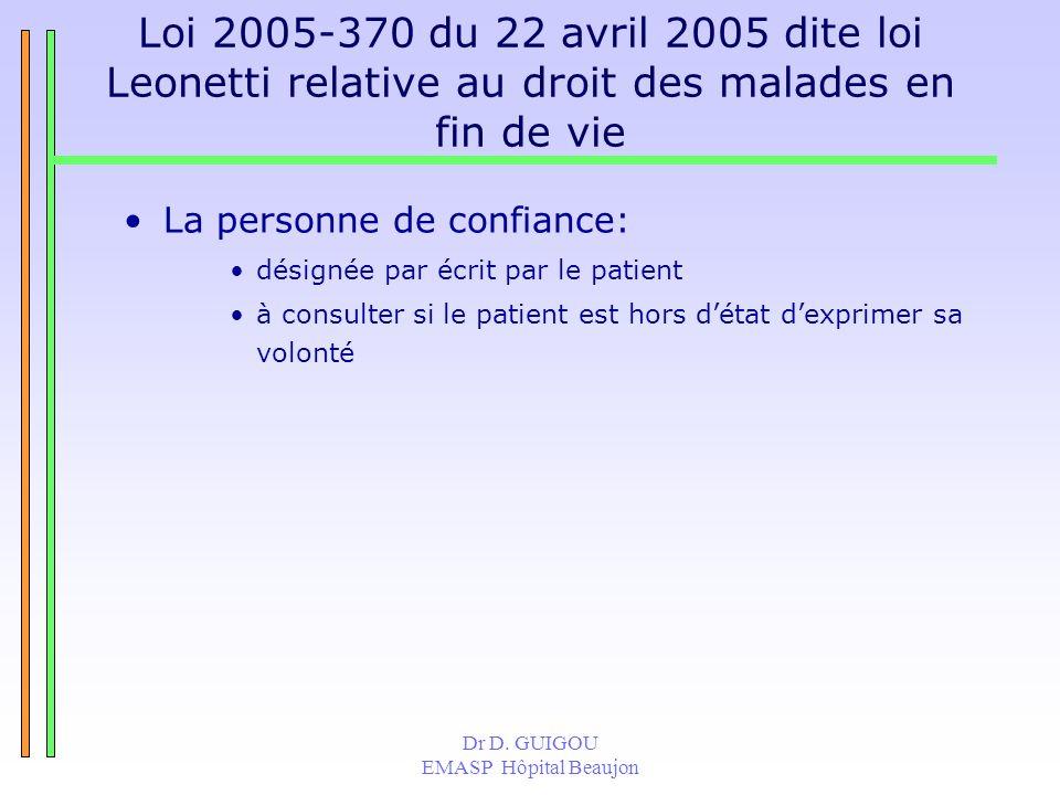 Dr D. GUIGOU EMASP Hôpital Beaujon Loi 2005-370 du 22 avril 2005 dite loi Leonetti relative au droit des malades en fin de vie La personne de confianc