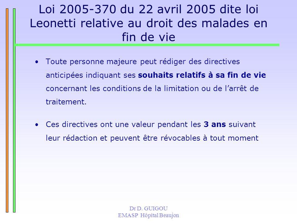 Dr D. GUIGOU EMASP Hôpital Beaujon Loi 2005-370 du 22 avril 2005 dite loi Leonetti relative au droit des malades en fin de vie Toute personne majeure