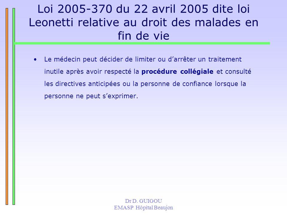 Dr D. GUIGOU EMASP Hôpital Beaujon Loi 2005-370 du 22 avril 2005 dite loi Leonetti relative au droit des malades en fin de vie Le médecin peut décider