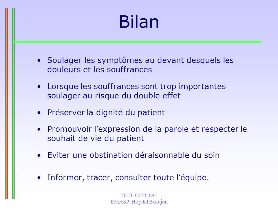Dr D. GUIGOU EMASP Hôpital Beaujon Bilan Soulager les symptômes au devant desquels les douleurs et les souffrances Lorsque les souffrances sont trop i
