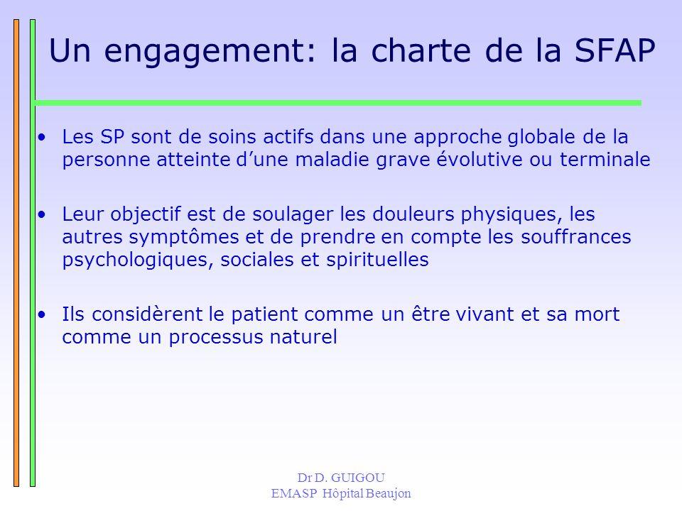 Dr D. GUIGOU EMASP Hôpital Beaujon Un engagement: la charte de la SFAP Les SP sont de soins actifs dans une approche globale de la personne atteinte d