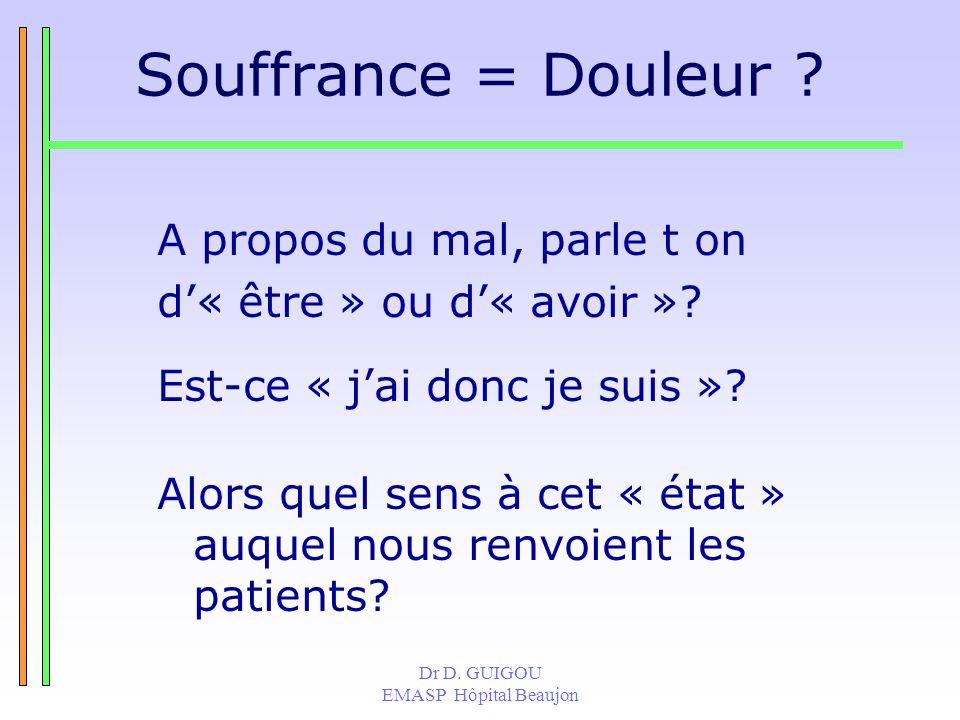 Dr D. GUIGOU EMASP Hôpital Beaujon Souffrance = Douleur ? A propos du mal, parle t on d« être » ou d« avoir »? Est-ce « jai donc je suis »? Alors quel