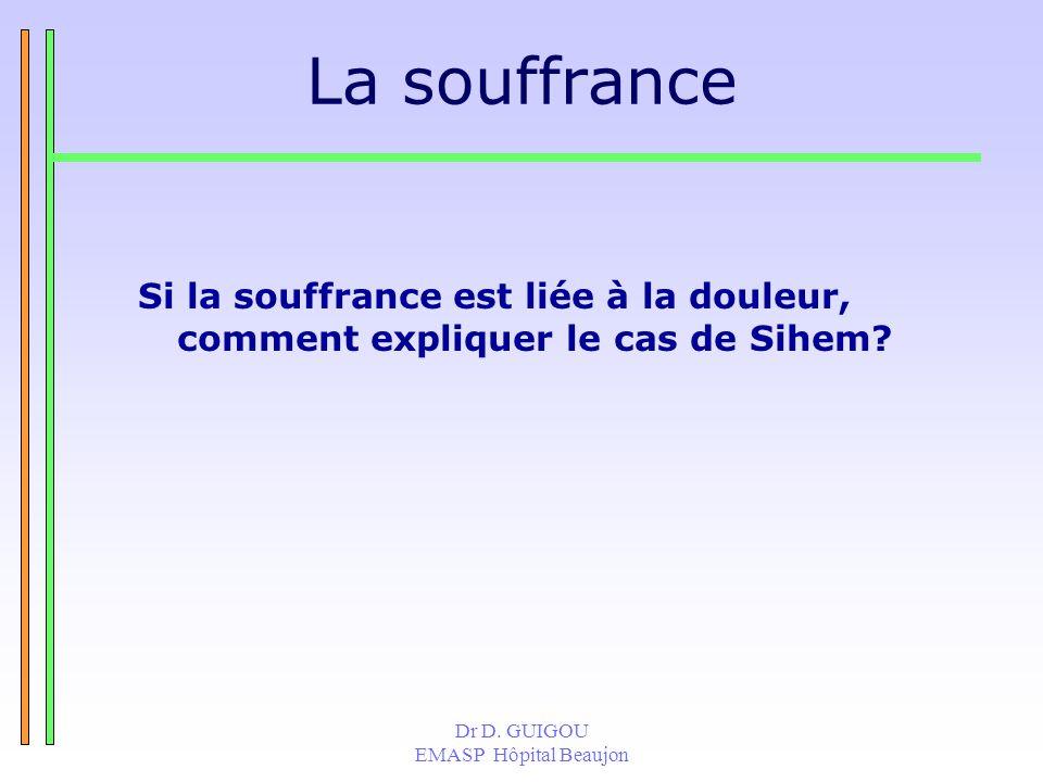 Dr D. GUIGOU EMASP Hôpital Beaujon La souffrance Si la souffrance est liée à la douleur, comment expliquer le cas de Sihem?
