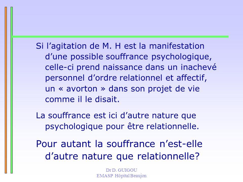 Dr D. GUIGOU EMASP Hôpital Beaujon Si lagitation de M. H est la manifestation dune possible souffrance psychologique, celle-ci prend naissance dans un