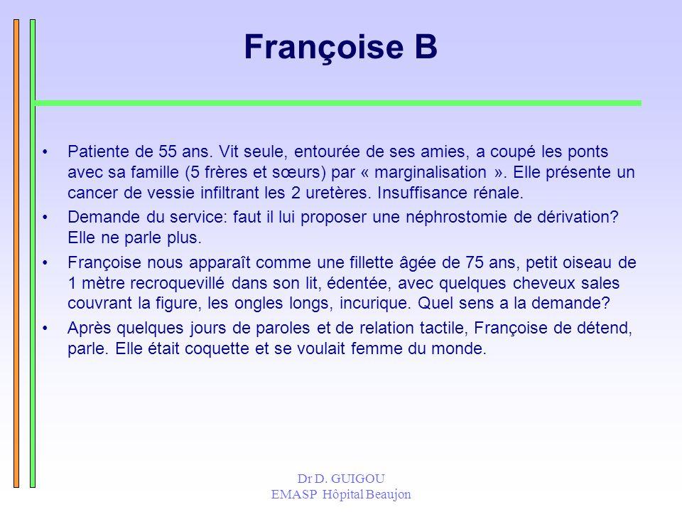 Dr D. GUIGOU EMASP Hôpital Beaujon Françoise B Patiente de 55 ans. Vit seule, entourée de ses amies, a coupé les ponts avec sa famille (5 frères et sœ