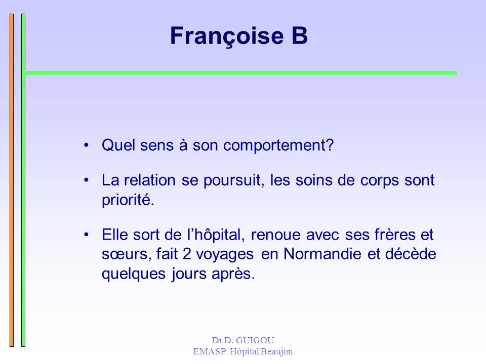Dr D. GUIGOU EMASP Hôpital Beaujon Françoise B Quel sens à son comportement? La relation se poursuit, les soins de corps sont priorité. Elle sort de l