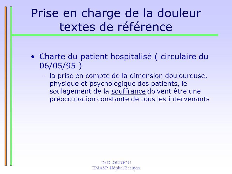 Dr D. GUIGOU EMASP Hôpital Beaujon Prise en charge de la douleur textes de référence Charte du patient hospitalisé ( circulaire du 06/05/95 ) –la pris