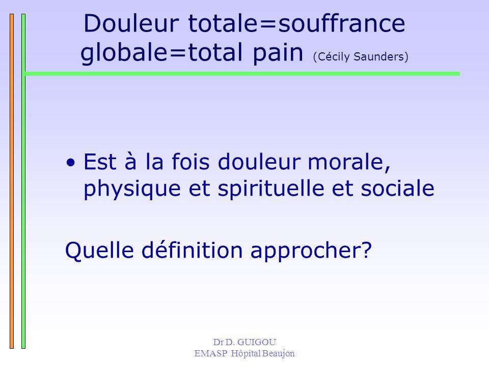 Dr D. GUIGOU EMASP Hôpital Beaujon Douleur totale=souffrance globale=total pain (Cécily Saunders) Est à la fois douleur morale, physique et spirituell