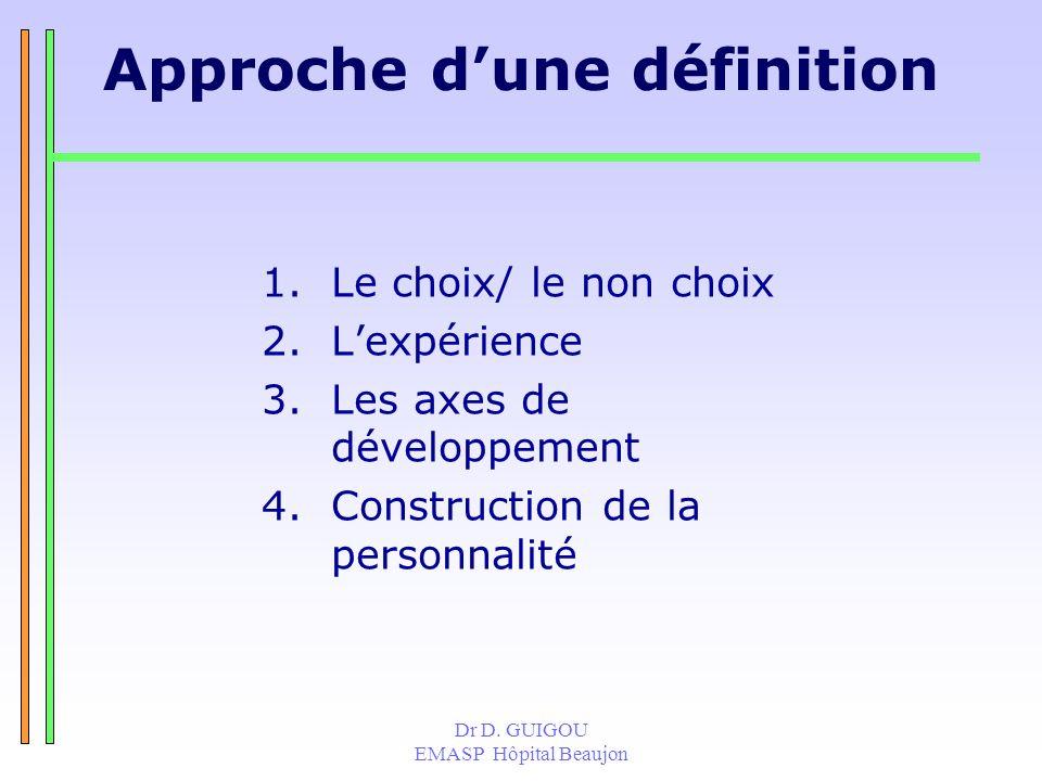 Dr D. GUIGOU EMASP Hôpital Beaujon Approche dune définition 1.Le choix/ le non choix 2.Lexpérience 3.Les axes de développement 4.Construction de la pe