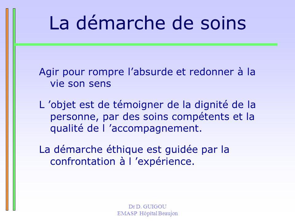 Dr D. GUIGOU EMASP Hôpital Beaujon La démarche de soins Agir pour rompre labsurde et redonner à la vie son sens L objet est de témoigner de la dignité