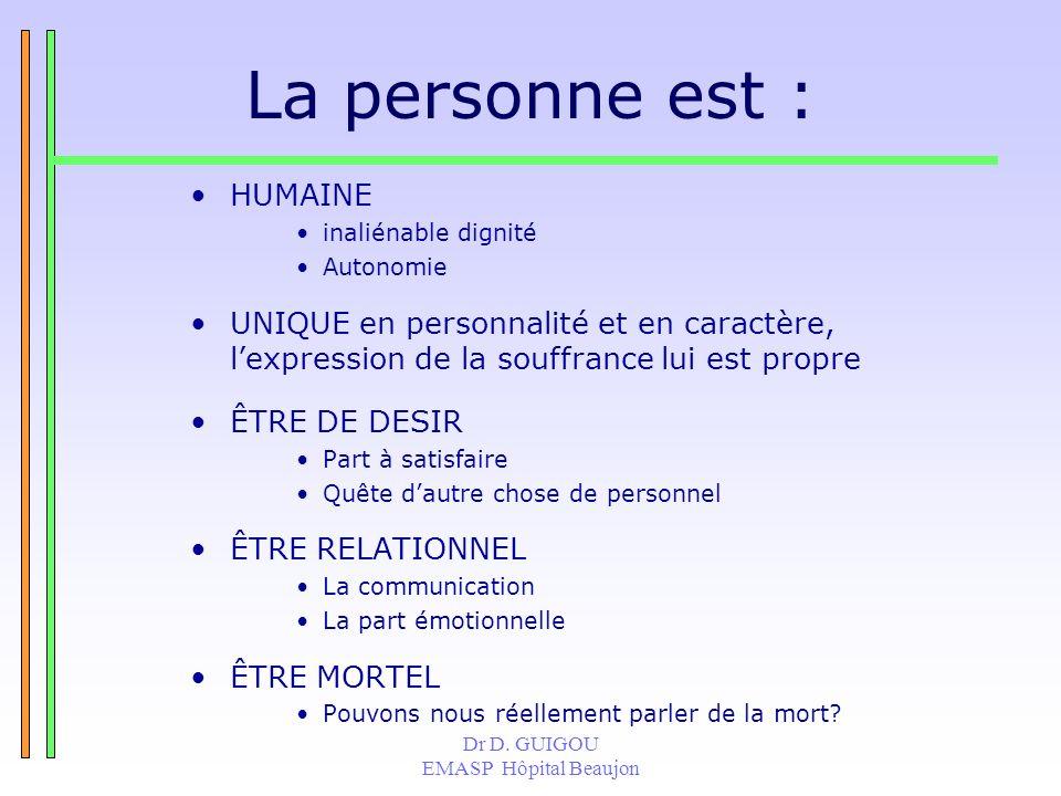 Dr D. GUIGOU EMASP Hôpital Beaujon La personne est : HUMAINE inaliénable dignité Autonomie UNIQUE en personnalité et en caractère, lexpression de la s
