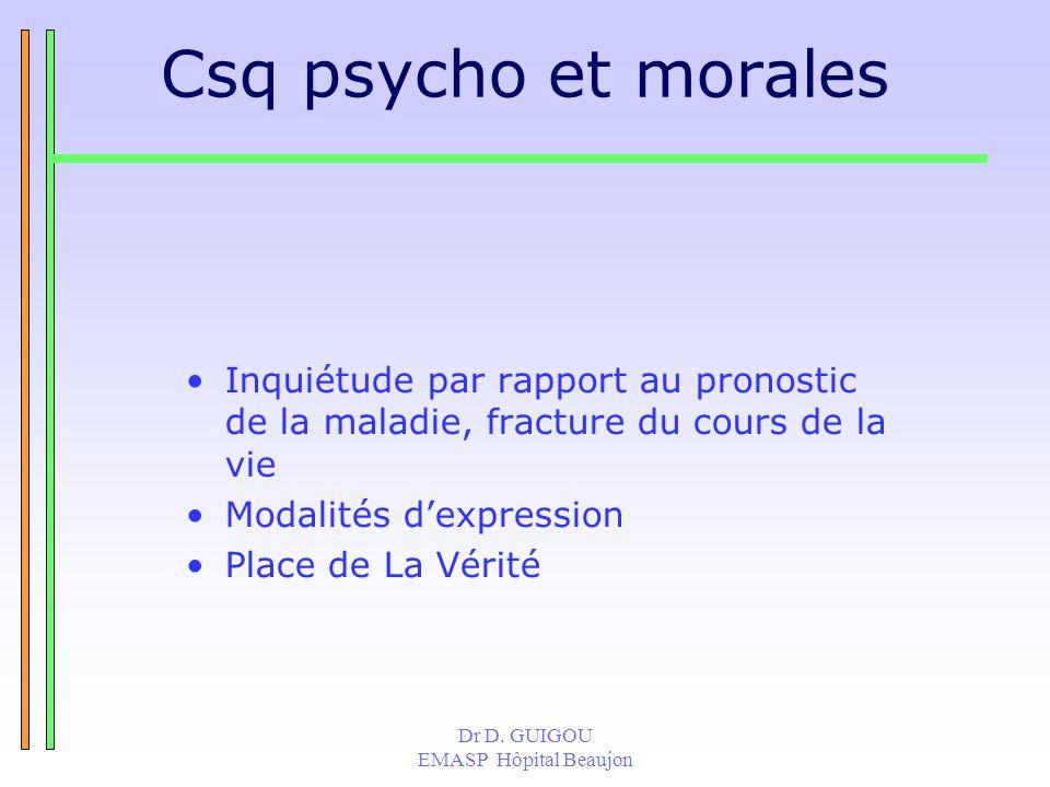Dr D. GUIGOU EMASP Hôpital Beaujon Csq psycho et morales Inquiétude par rapport au pronostic de la maladie, fracture du cours de la vie Modalités dexp