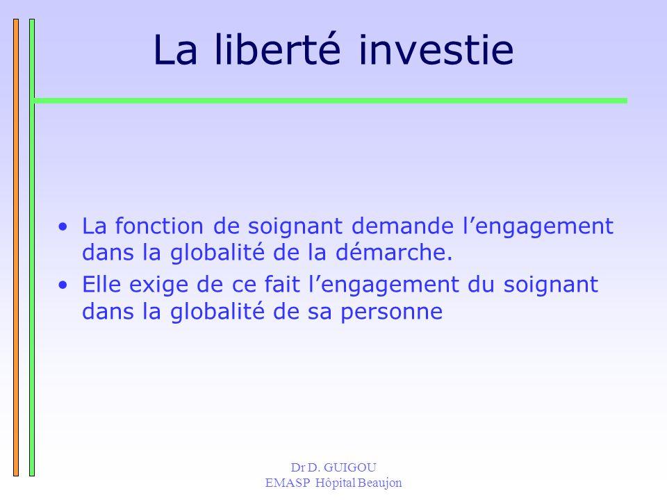 Dr D. GUIGOU EMASP Hôpital Beaujon La liberté investie La fonction de soignant demande lengagement dans la globalité de la démarche. Elle exige de ce