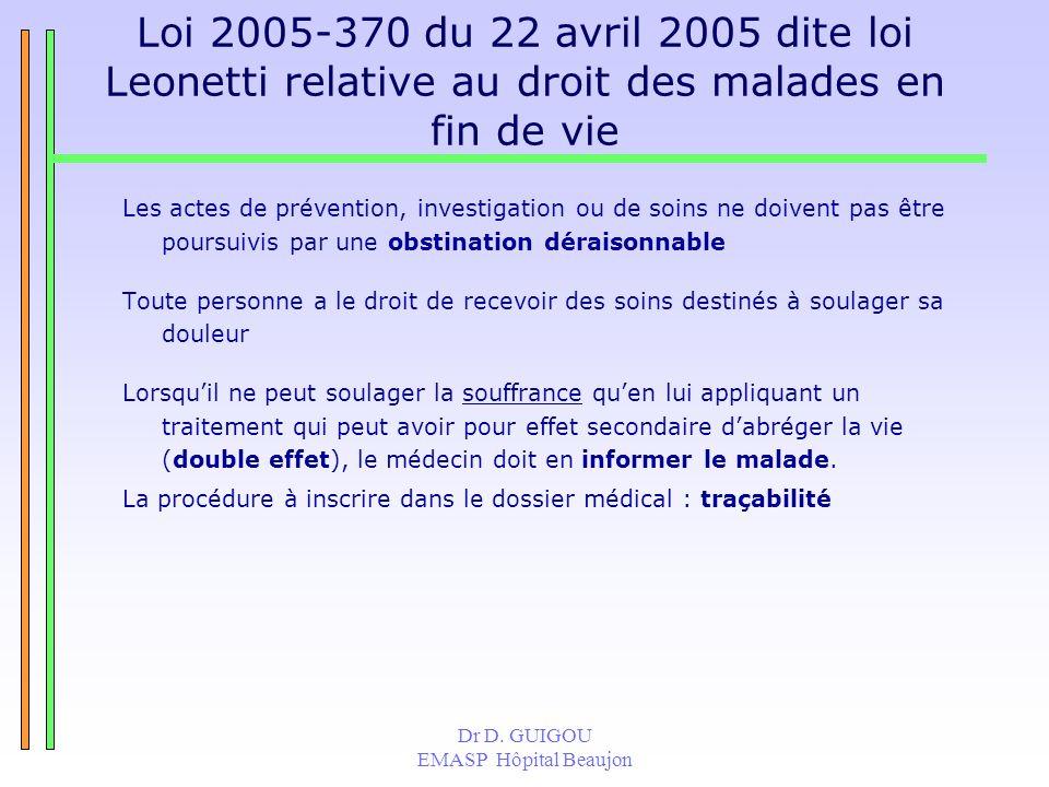 Dr D. GUIGOU EMASP Hôpital Beaujon Loi 2005-370 du 22 avril 2005 dite loi Leonetti relative au droit des malades en fin de vie Les actes de prévention