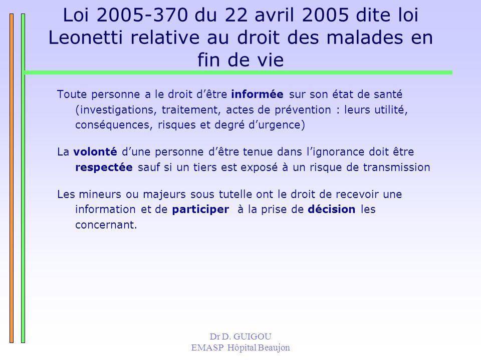 Dr D. GUIGOU EMASP Hôpital Beaujon Loi 2005-370 du 22 avril 2005 dite loi Leonetti relative au droit des malades en fin de vie Toute personne a le dro