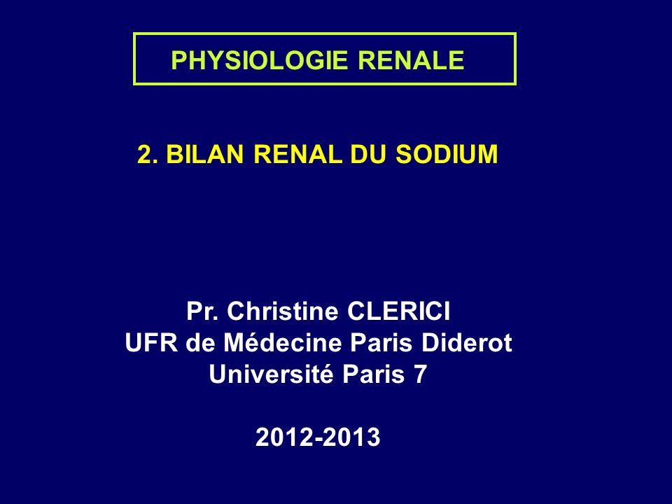 PHYSIOLOGIE RENALE 2. BILAN RENAL DU SODIUM Pr.