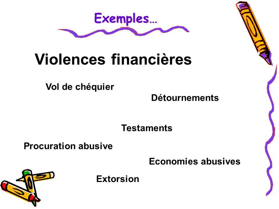 Violences financières Vol de chéquier Détournements Procuration abusive Testaments Economies abusives Extorsion Exemples…