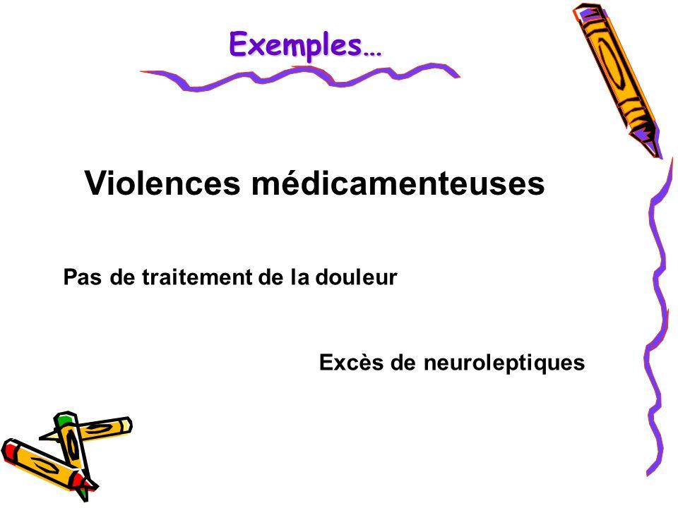 Violences médicamenteuses Excès de neuroleptiques Pas de traitement de la douleur Exemples…