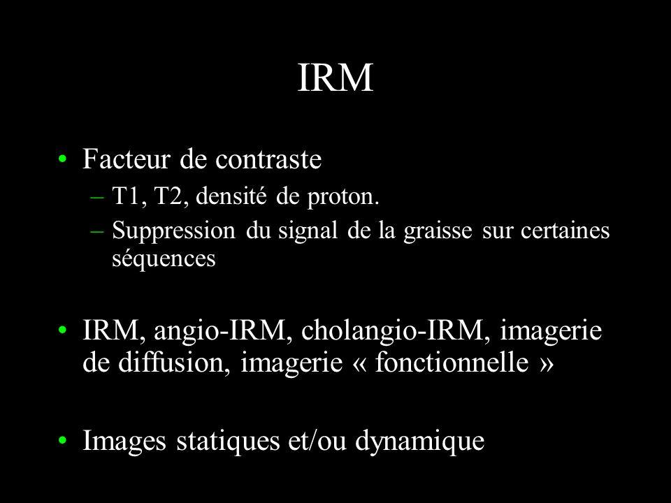 IRM Résonance magnétique nucléaire Le «proton» noyau dhydrogène Champ magnétique intense (1,5 Tesla) Acquisition du signal Antenne dédiée Traitement :