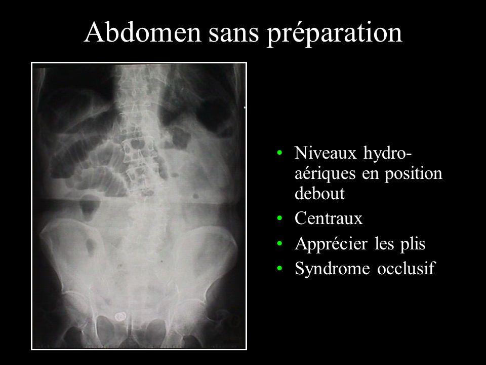 Abdomen sans préparation Niveaux hydro- aériques en position debout Centraux Apprécier les plis Syndrome occlusif