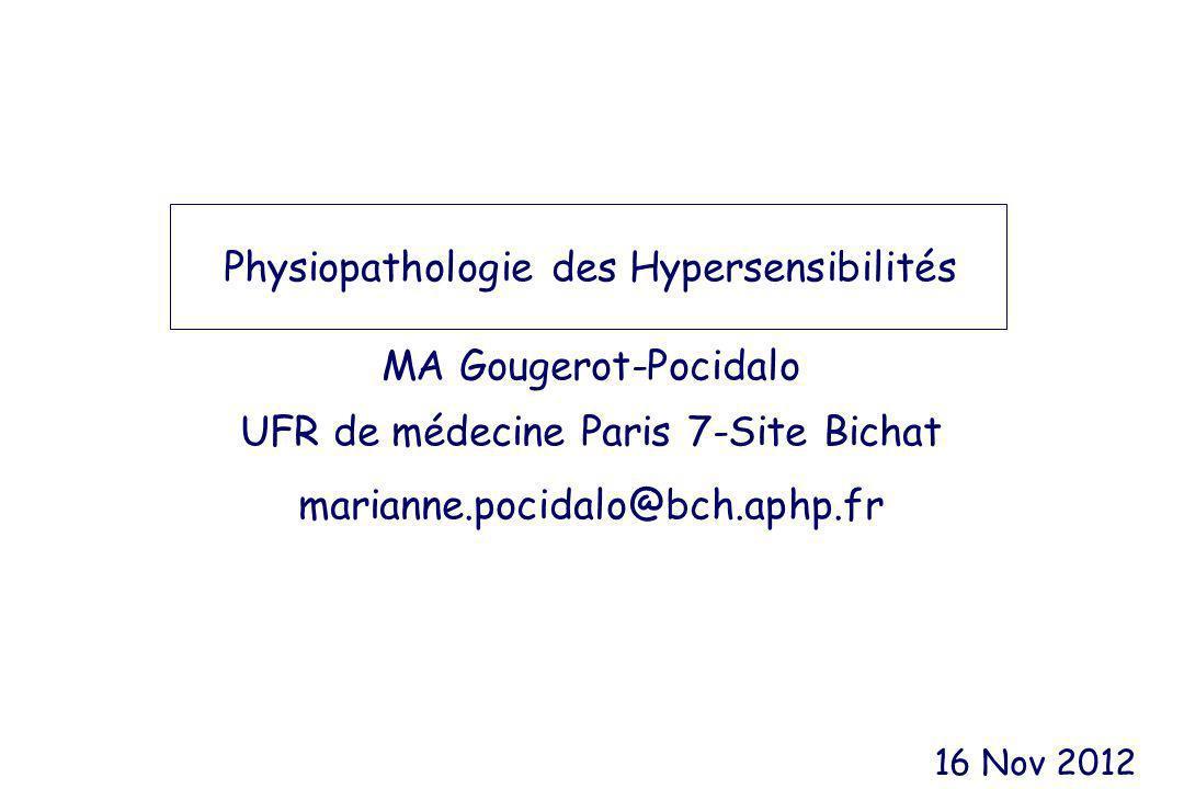 Physiopathologie des Hypersensibilités MA Gougerot-Pocidalo UFR de médecine Paris 7-Site Bichat marianne.pocidalo@bch.aphp.fr 16 Nov 2012