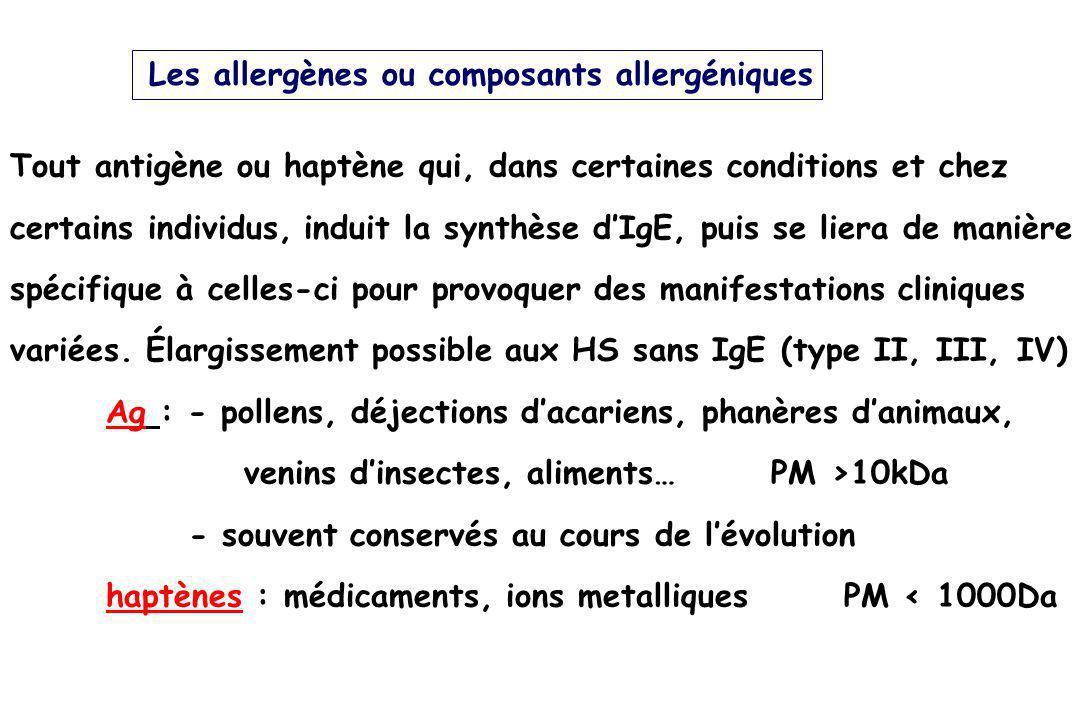 Les allergènes ou composants allergéniques Tout antigène ou haptène qui, dans certaines conditions et chez certains individus, induit la synthèse dIgE