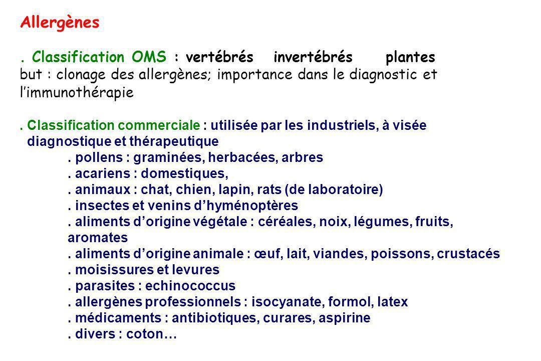 Allergènes. Classification OMS : vertébrés invertébrés plantes but : clonage des allergènes; importance dans le diagnostic et limmunothérapie. Classif