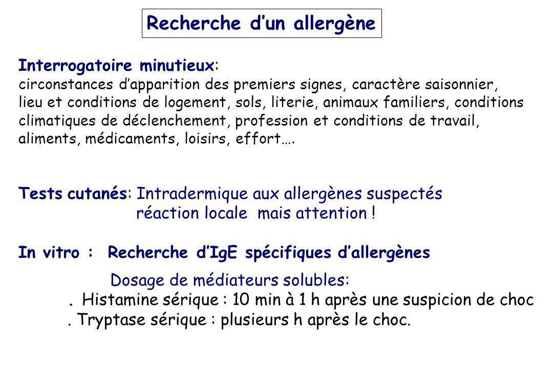 Recherche dun allergène Interrogatoire minutieux: circonstances dapparition des premiers signes, caractère saisonnier, lieu et conditions de logement,