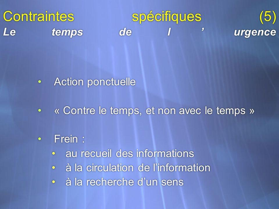 Contraintes spécifiques (5) Le temps de lurgence Action ponctuelle « Contre le temps, et non avec le temps » Frein : au recueil des informations à la