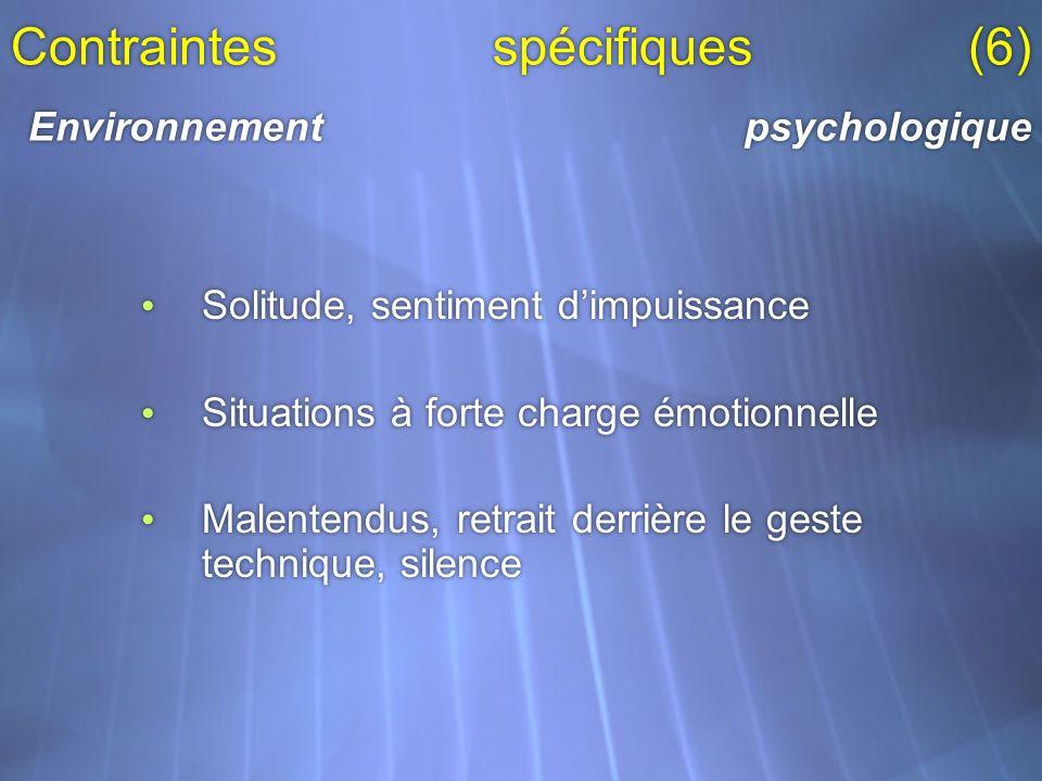 Contraintes spécifiques (6) Environnement psychologique Solitude, sentiment dimpuissance Situations à forte charge émotionnelle Malentendus, retrait d