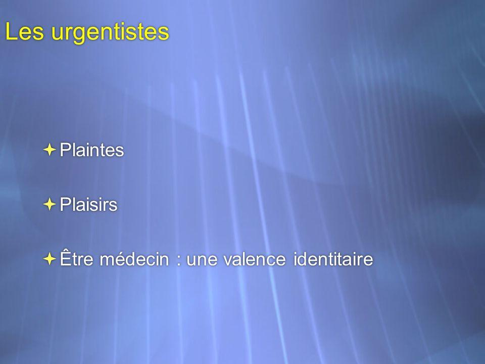 Les urgentistes Plaintes Plaisirs Être médecin : une valence identitaire Plaintes Plaisirs Être médecin : une valence identitaire