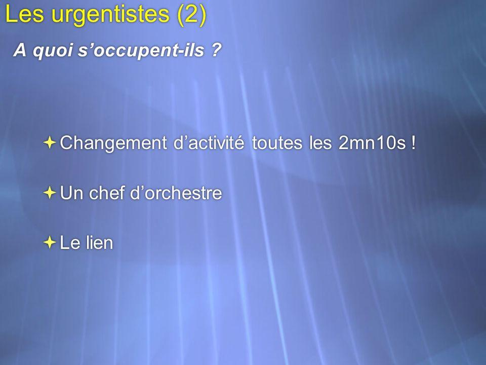 Les urgentistes (2) A quoi soccupent-ils ? Changement dactivité toutes les 2mn10s ! Un chef dorchestre Le lien Changement dactivité toutes les 2mn10s