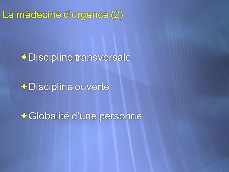 La médecine durgence (2) Discipline transversale Discipline ouverte Globalité dune personne Discipline transversale Discipline ouverte Globalité dune