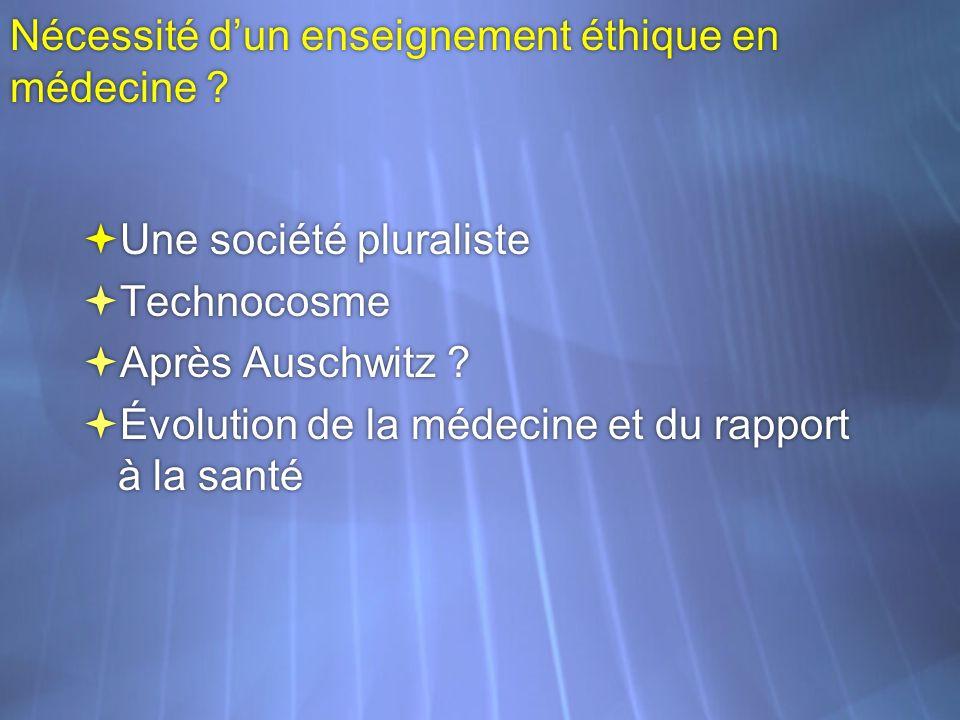 Nécessité dun enseignement éthique en médecine ? Une société pluraliste Technocosme Après Auschwitz ? Évolution de la médecine et du rapport à la sant