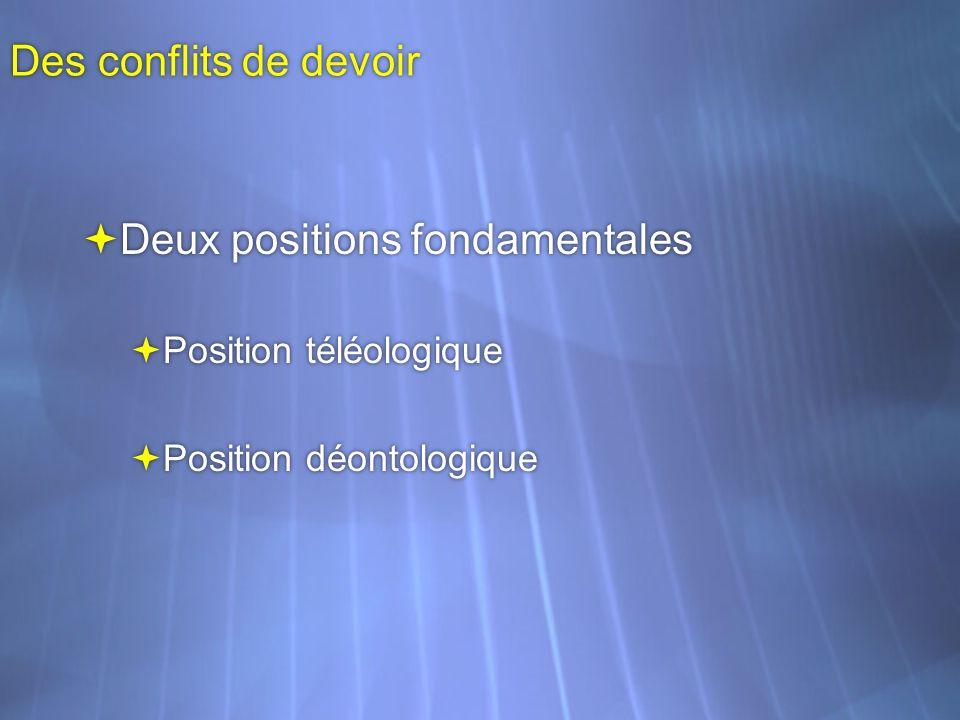 Des conflits de devoir Deux positions fondamentales Position téléologique Position déontologique Deux positions fondamentales Position téléologique Po