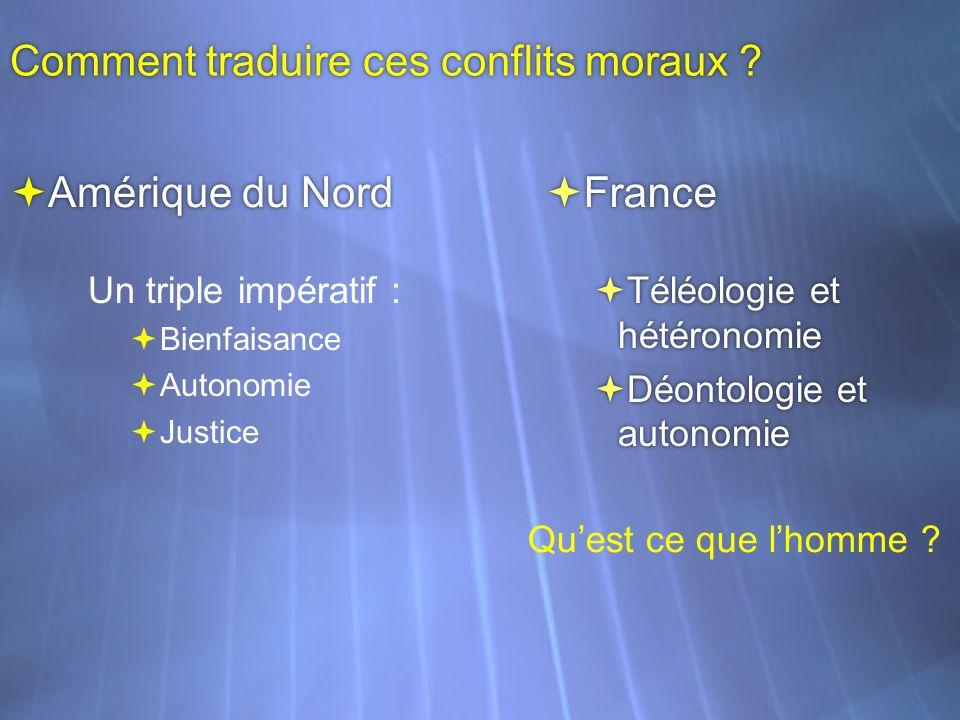 Comment traduire ces conflits moraux ? Un triple impératif : Bienfaisance Autonomie Justice Un triple impératif : Bienfaisance Autonomie Justice Téléo