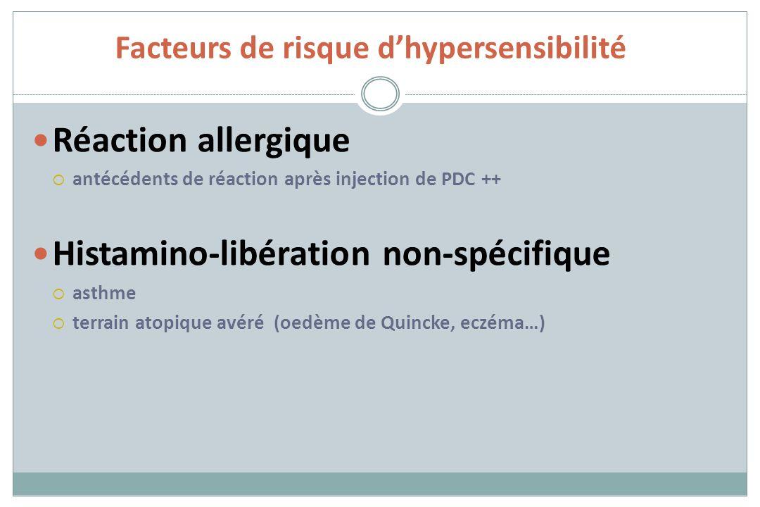 Facteurs de risque dhypersensibilité Réaction allergique antécédents de réaction après injection de PDC ++ Histamino-libération non-spécifique asthme