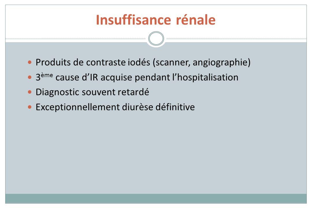 Insuffisance rénale Produits de contraste iodés (scanner, angiographie) 3 ème cause dIR acquise pendant lhospitalisation Diagnostic souvent retardé Ex